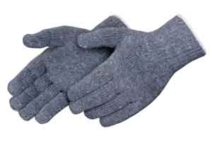 Grey String Knit Gloves