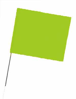 "WIR 2315LG - Lime Glo 15"" Wire Flag Stakes (bundle of 100)"