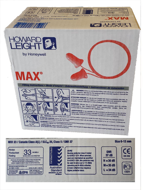 SAF MAX30/wc - MAX 30 Corded Ear Plugs - Full Box of 100 pair
