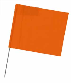"WIR 2315OG - Orange Glo 15"" Wire Flag Stakes (bundle of 100)"