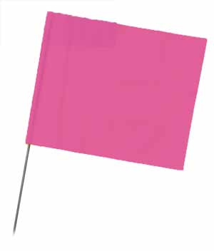 "WIR 4521PG - Pink Glo 21"" Wire Flag Stakes (bundle of 100)"