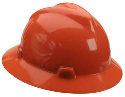 SAF MSA/1002192 - Hardhat Full Brim Hi-Viz Orange w/ratchet suspension