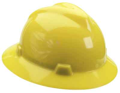 SAF MSA/475366 - Hardhat Full Brim Yellow w/ratchet suspension